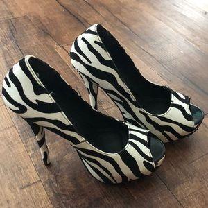Zebra Print Platform Heels